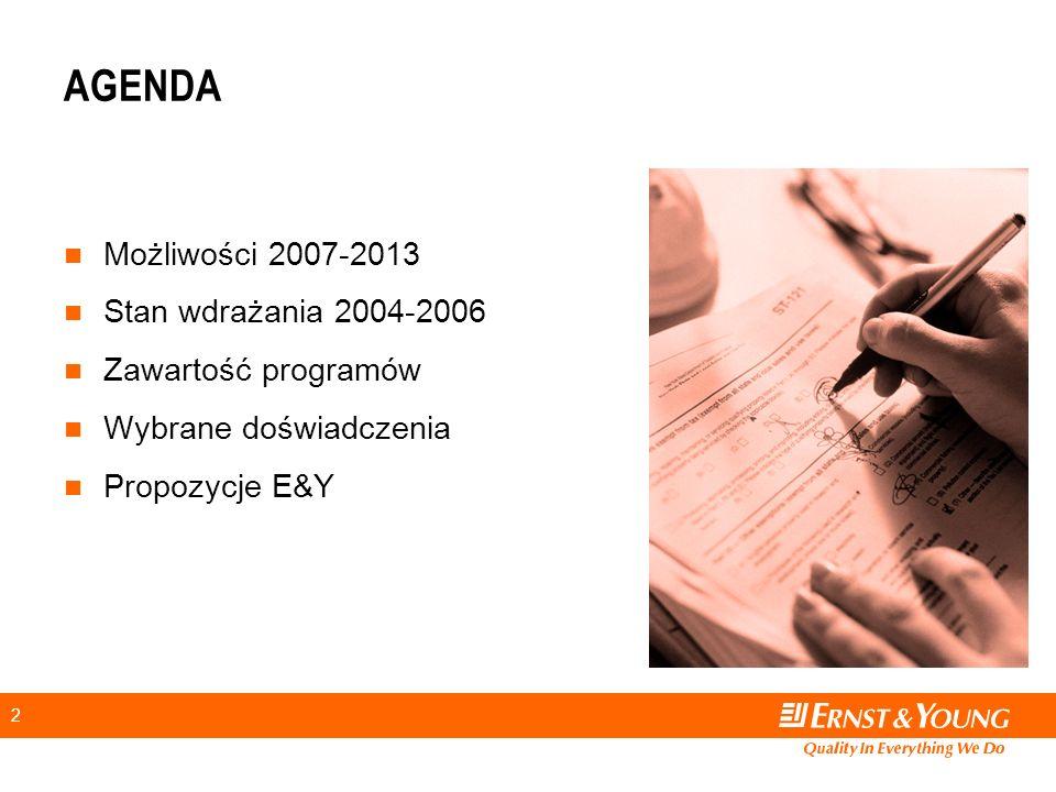 2 AGENDA Możliwości 2007-2013 Stan wdrażania 2004-2006 Zawartość programów Wybrane doświadczenia Propozycje E&Y