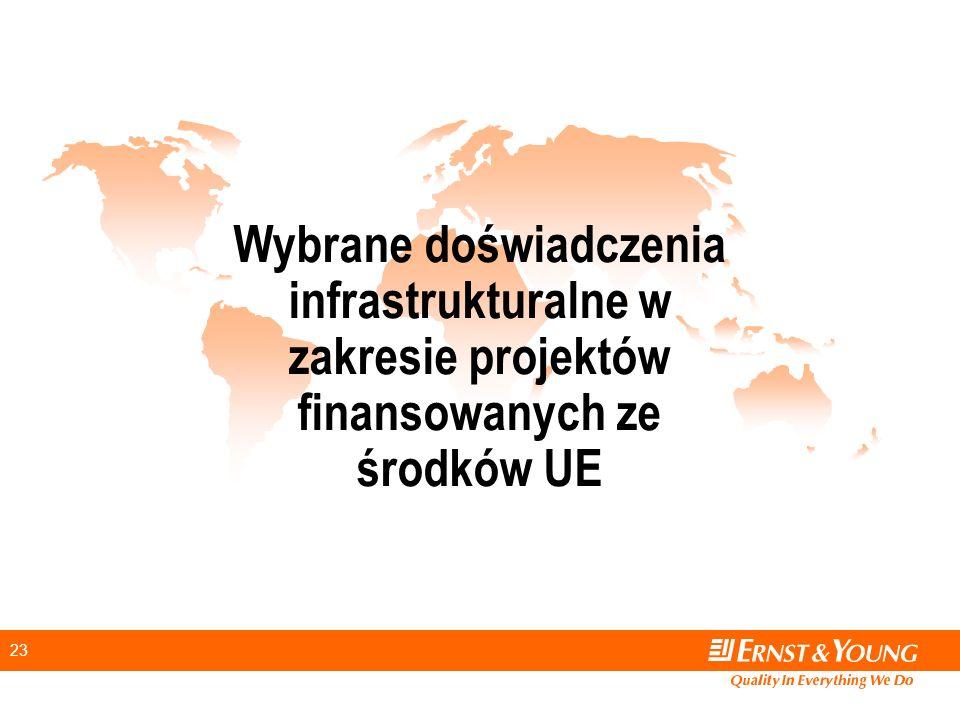 23 Wybrane doświadczenia infrastrukturalne w zakresie projektów finansowanych ze środków UE