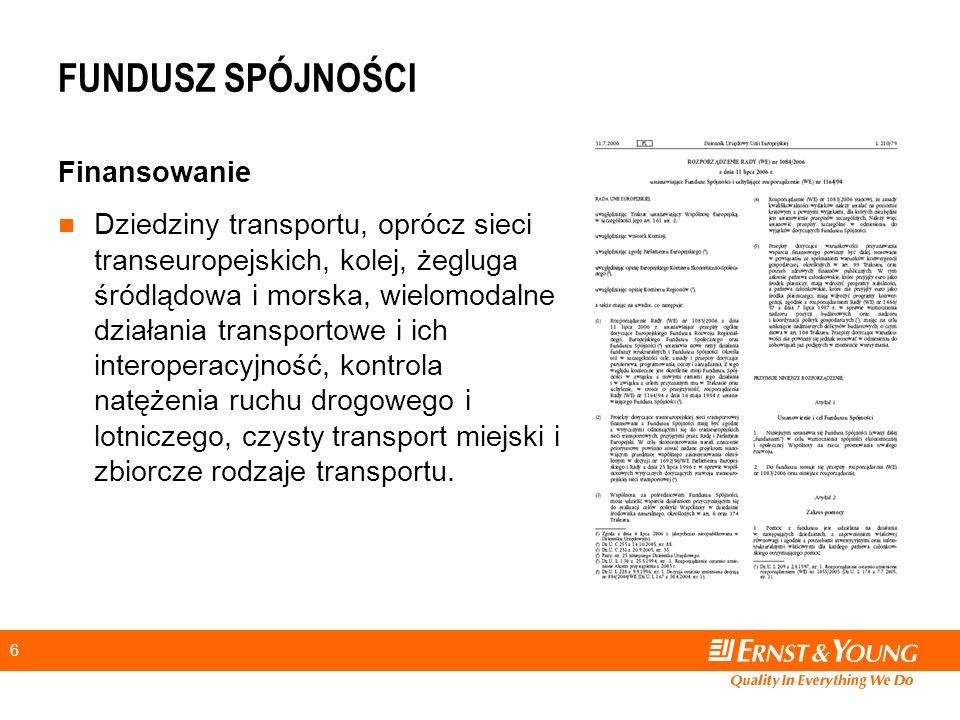 6 FUNDUSZ SPÓJNOŚCI Finansowanie Dziedziny transportu, oprócz sieci transeuropejskich, kolej, żegluga śródlądowa i morska, wielomodalne działania transportowe i ich interoperacyjność, kontrola natężenia ruchu drogowego i lotniczego, czysty transport miejski i zbiorcze rodzaje transportu.