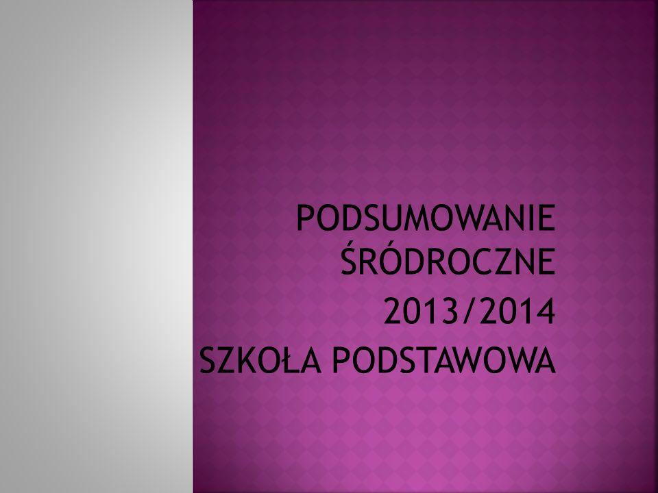 PODSUMOWANIE ŚRÓDROCZNE 2013/2014 SZKOŁA PODSTAWOWA