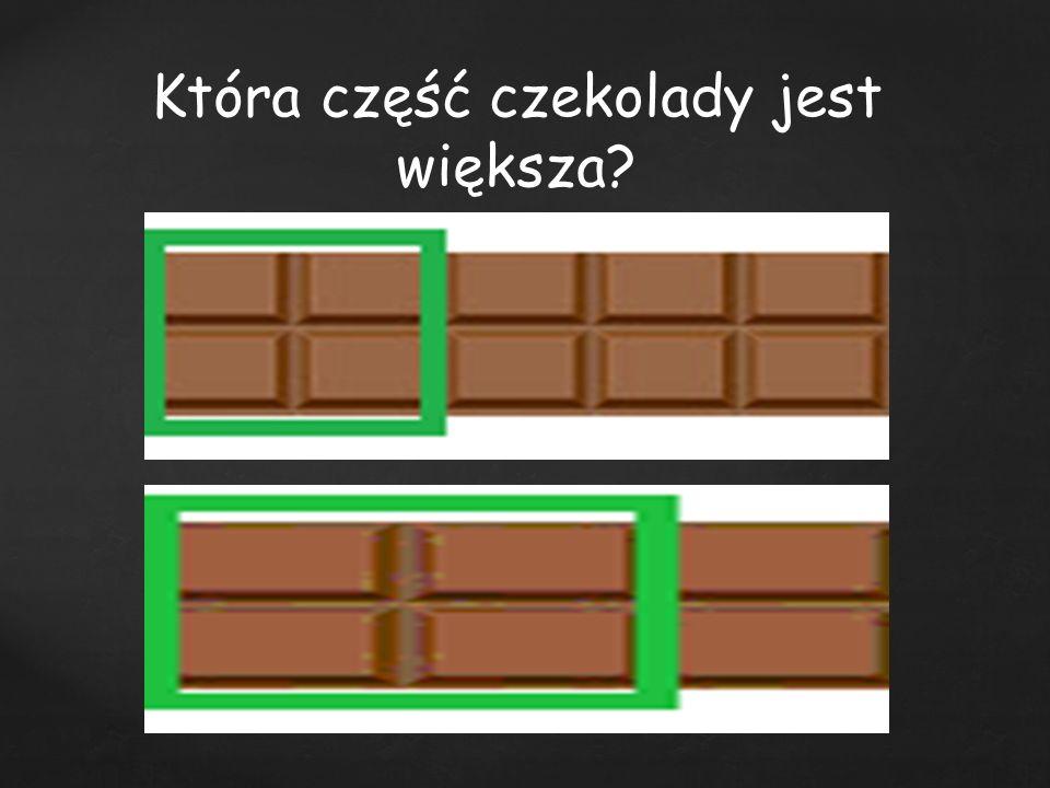 Która część czekolady jest większa