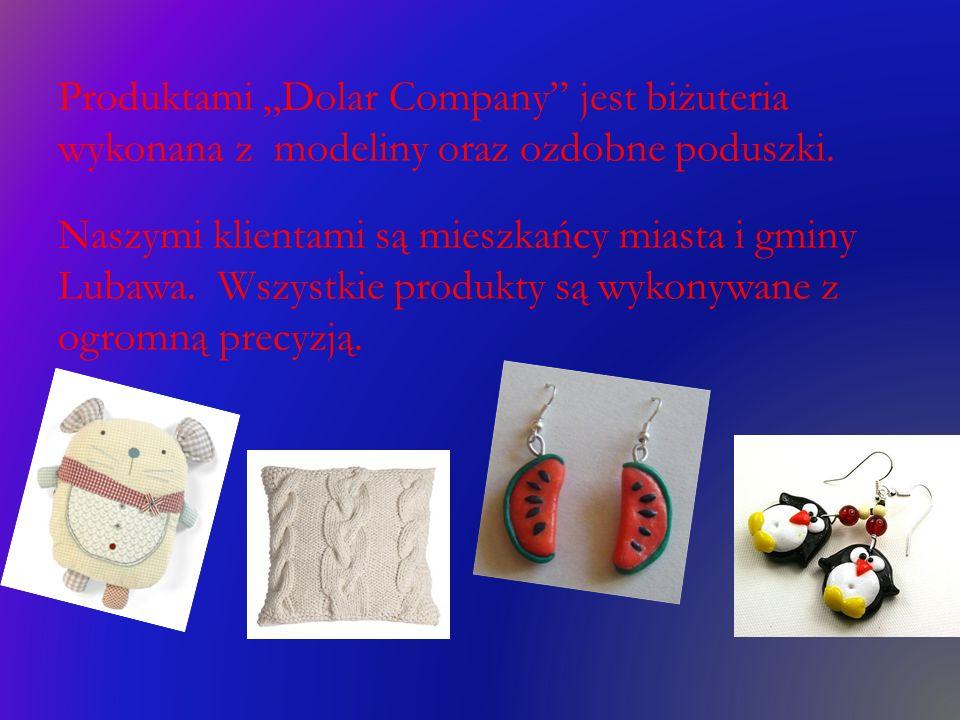 """Produktami """"Dolar Company jest biżuteria wykonana z modeliny oraz ozdobne poduszki."""