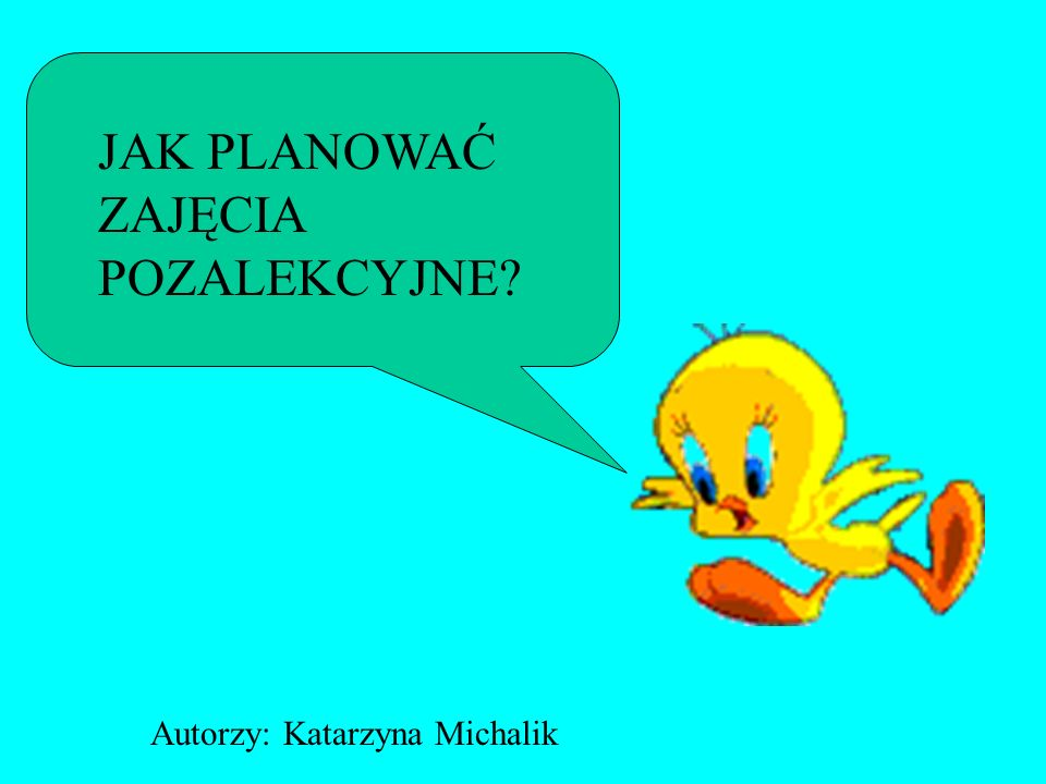 JAK PLANOWAĆ ZAJĘCIA POZALEKCYJNE Autorzy: Katarzyna Michalik