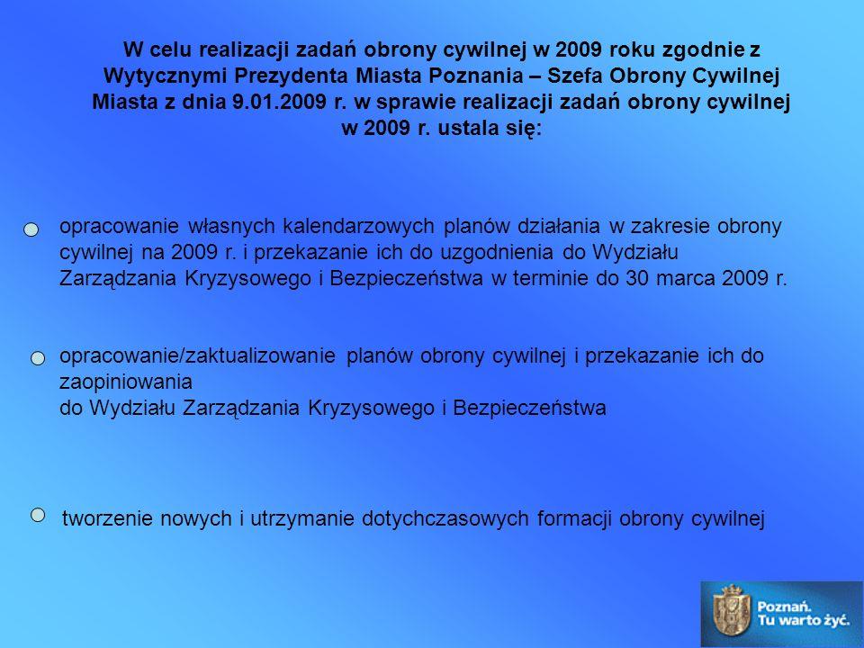 W celu realizacji zadań obrony cywilnej w 2009 roku zgodnie z Wytycznymi Prezydenta Miasta Poznania – Szefa Obrony Cywilnej Miasta z dnia 9.01.2009 r.