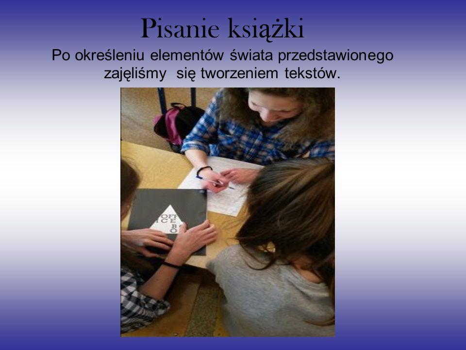Pisanie ksi ąż ki Po określeniu elementów świata przedstawionego zajęliśmy się tworzeniem tekstów.