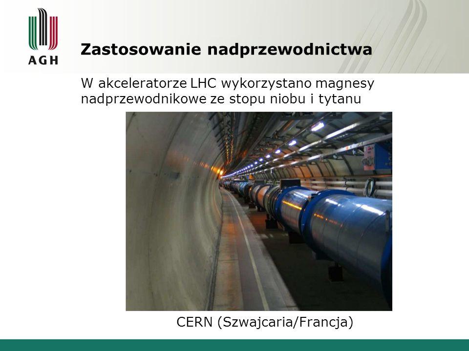 Zastosowanie nadprzewodnictwa W akceleratorze LHC wykorzystano magnesy nadprzewodnikowe ze stopu niobu i tytanu CERN (Szwajcaria/Francja)