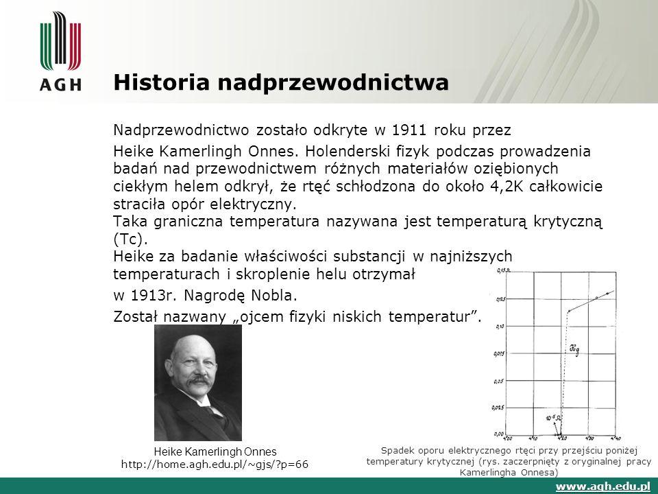 Historia nadprzewodnictwa Nadprzewodnictwo zostało odkryte w 1911 roku przez Heike Kamerlingh Onnes. Holenderski fizyk podczas prowadzenia badań nad p