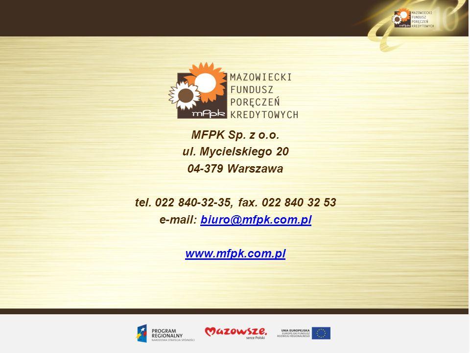 MFPK Sp. z o.o. ul. Mycielskiego 20 04-379 Warszawa tel. 022 840-32-35, fax. 022 840 32 53 e-mail: biuro@mfpk.com.plbiuro@mfpk.com.pl www.mfpk.com.pl