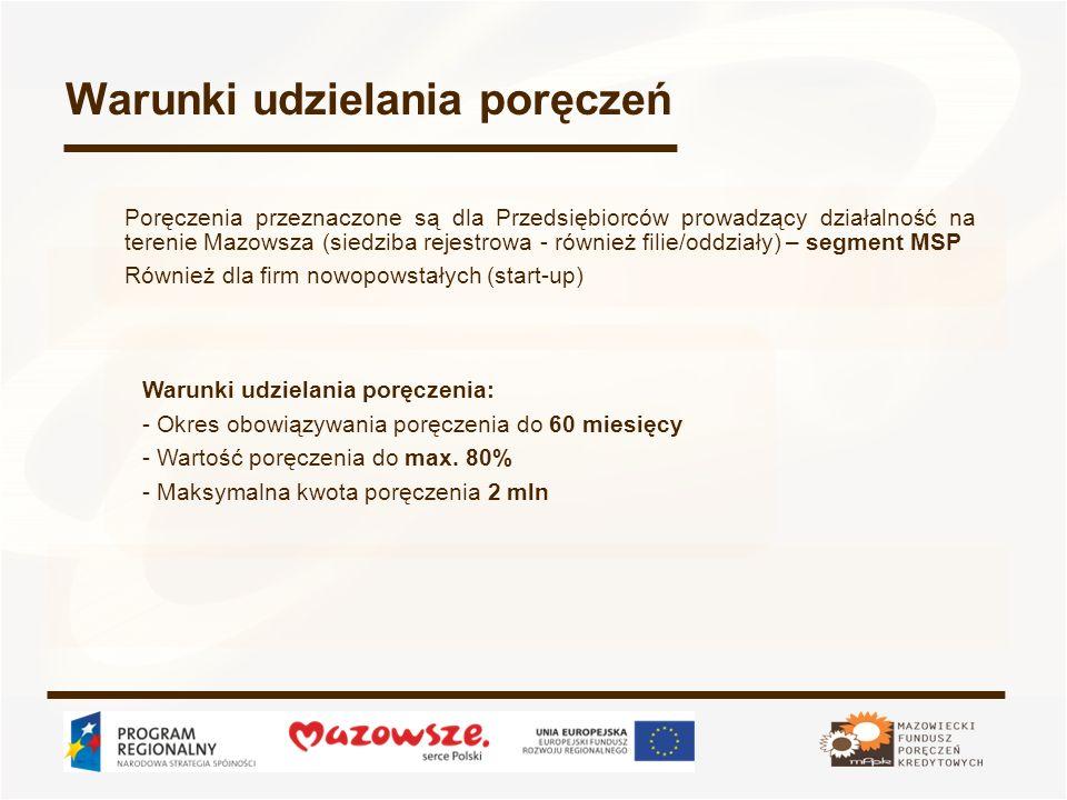 Warunki udzielania poręczeń Poręczenia przeznaczone są dla Przedsiębiorców prowadzący działalność na terenie Mazowsza (siedziba rejestrowa - również f