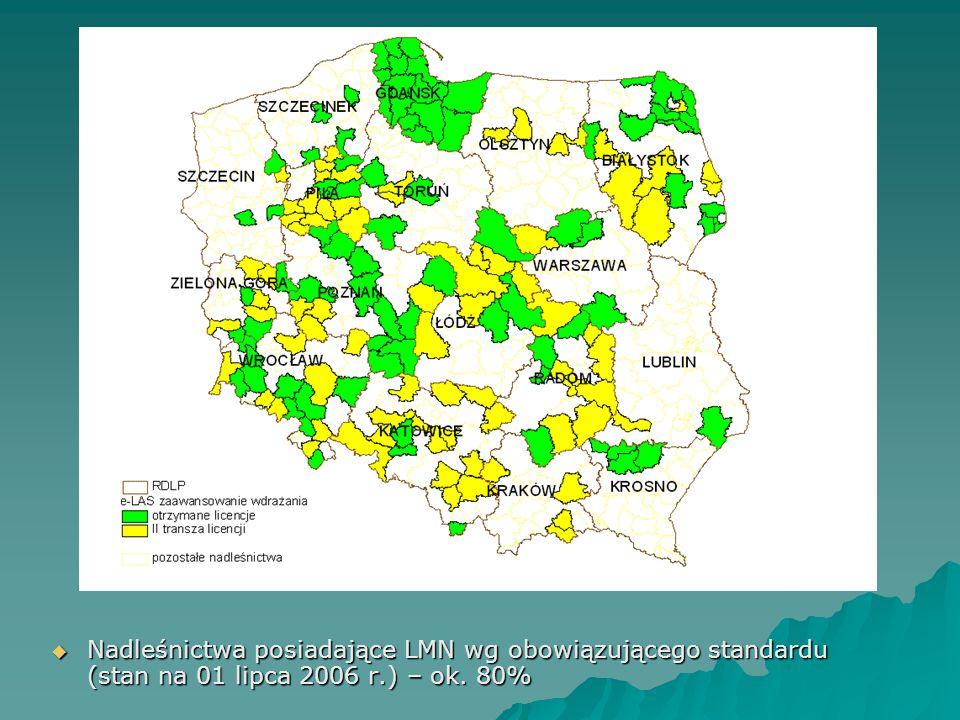  Nadleśnictwa posiadające LMN wg obowiązującego standardu (stan na 01 lipca 2006 r.) – ok. 80%