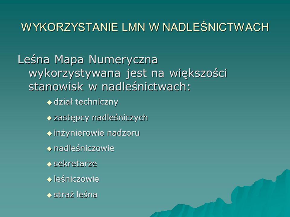 WYKORZYSTANIE LMN W NADLEŚNICTWACH Leśna Mapa Numeryczna wykorzystywana jest na większości stanowisk w nadleśnictwach:  dział techniczny  zastępcy n