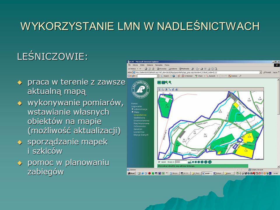 WYKORZYSTANIE LMN W NADLEŚNICTWACH LEŚNICZOWIE:  praca w terenie z zawsze aktualną mapą  wykonywanie pomiarów, wstawianie własnych obiektów na mapie