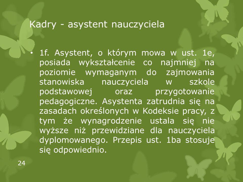 Kadry - asystent nauczyciela 1f. Asystent, o którym mowa w ust.