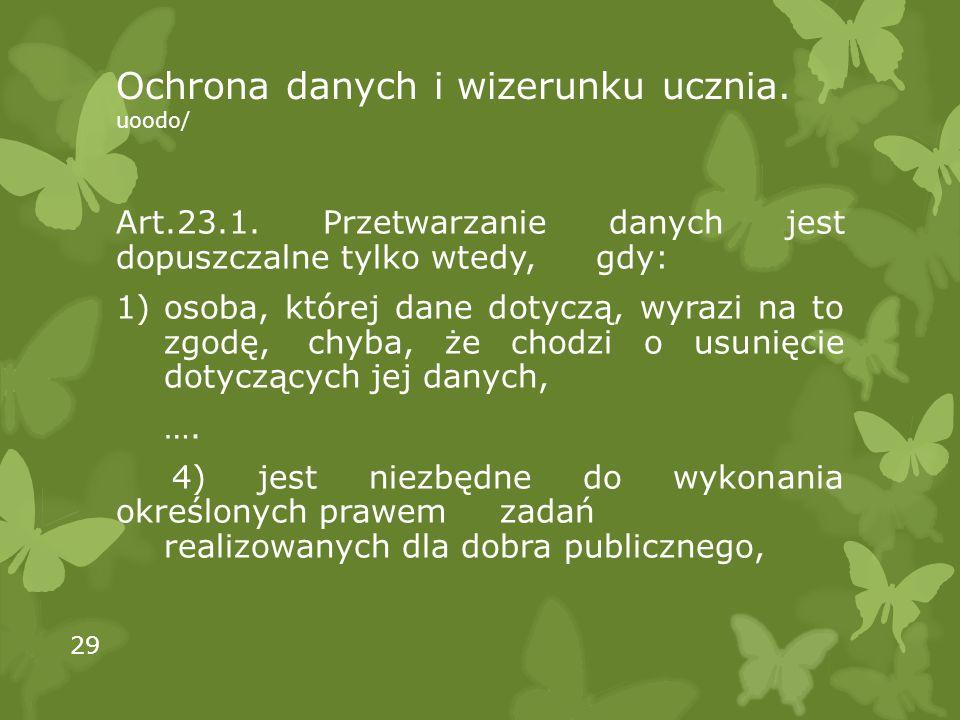 Ochrona danych i wizerunku ucznia. uoodo/ Art.23.1.