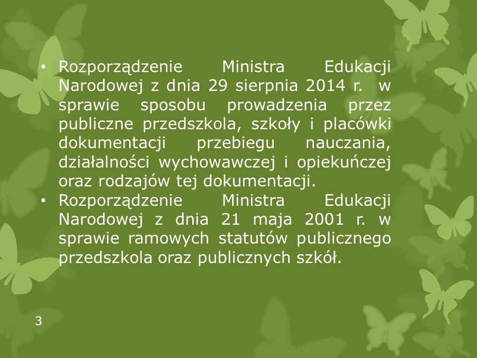Rozporządzenie Ministra Edukacji Narodowej z dnia 29 sierpnia 2014 r.