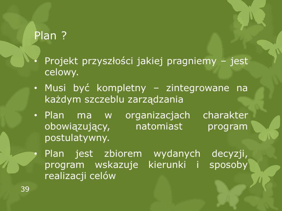 Plan ? Projekt przyszłości jakiej pragniemy – jest celowy. Musi być kompletny – zintegrowane na każdym szczeblu zarządzania Plan ma w organizacjach ch