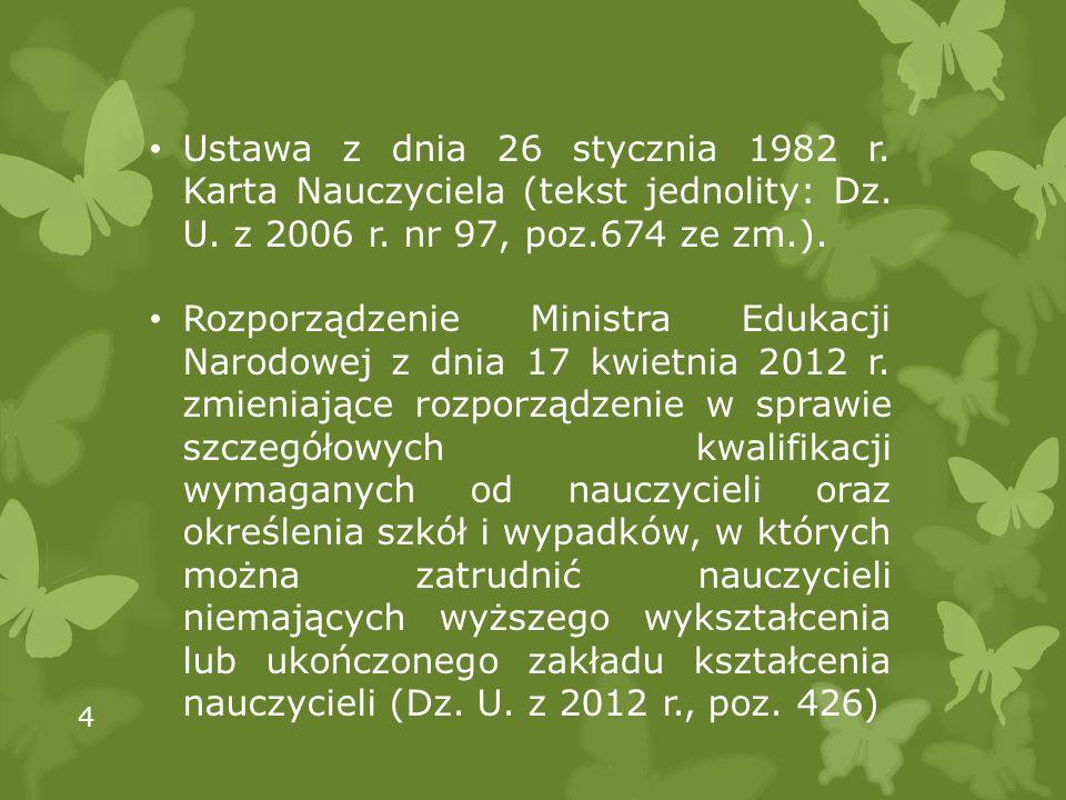 Ustawa z dnia 26 stycznia 1982 r. Karta Nauczyciela (tekst jednolity: Dz. U. z 2006 r. nr 97, poz.674 ze zm.). Rozporządzenie Ministra Edukacji Narodo