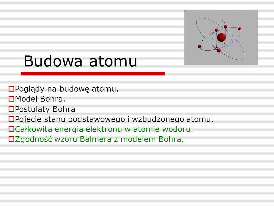 Budowa atomu  Poglądy na budowę atomu.  Model Bohra.  Postulaty Bohra  Pojęcie stanu podstawowego i wzbudzonego atomu.  Całkowita energia elektro