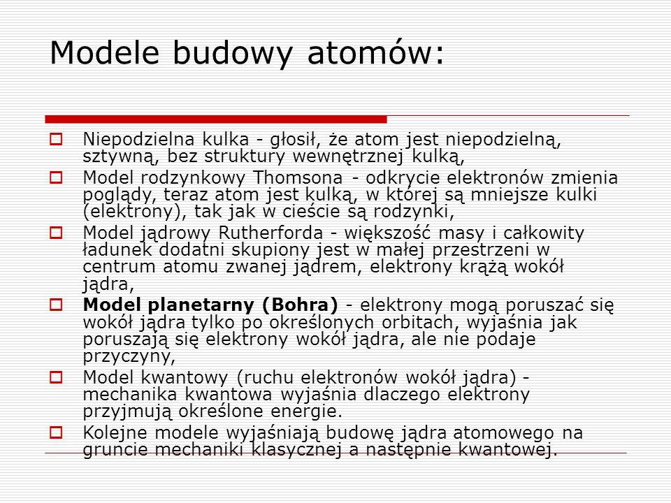 Modele budowy atomów:  Niepodzielna kulka - głosił, że atom jest niepodzielną, sztywną, bez struktury wewnętrznej kulką,  Model rodzynkowy Thomsona