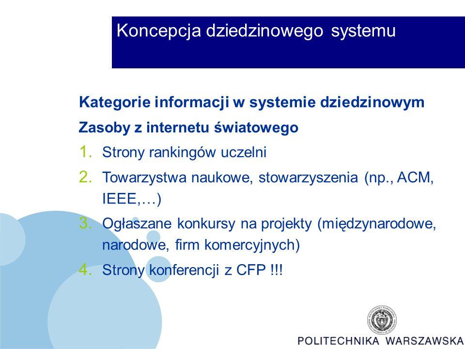 Koncepcja dziedzinowego systemu Kategorie informacji w systemie dziedzinowym Zasoby z internetu światowego 1.