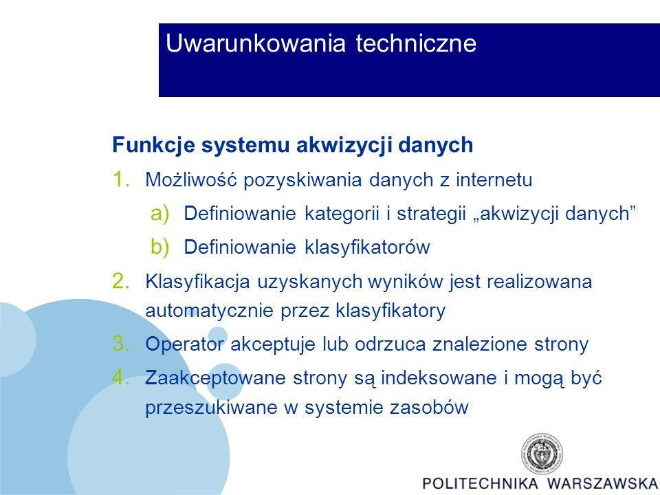 Uwarunkowania techniczne Funkcje systemu akwizycji danych 1.