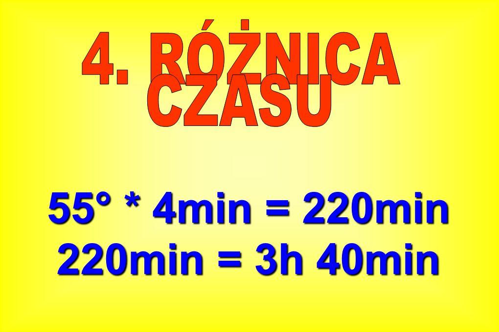 55° * 4min = 220min 220min = 3h 40min