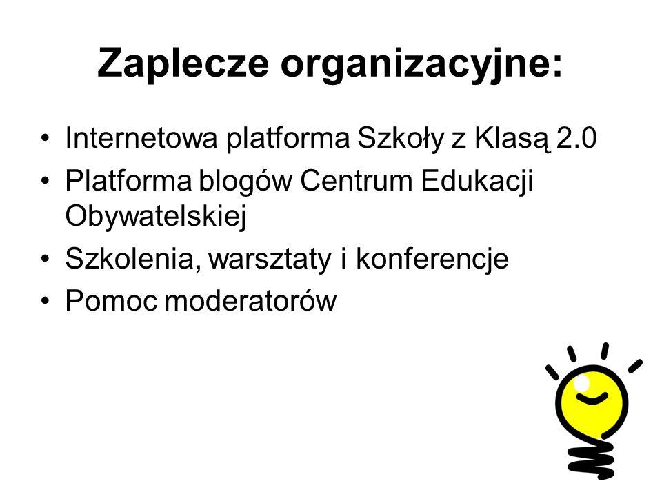 Zaplecze organizacyjne: Internetowa platforma Szkoły z Klasą 2.0 Platforma blogów Centrum Edukacji Obywatelskiej Szkolenia, warsztaty i konferencje Pomoc moderatorów