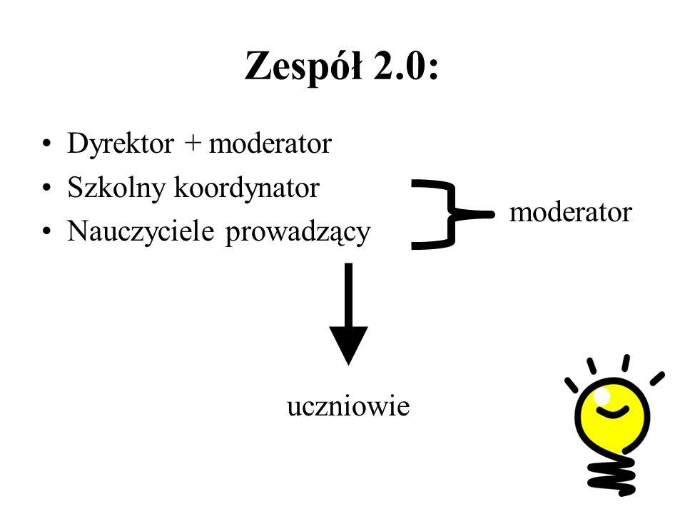 Zespół 2.0: Dyrektor + moderator Szkolny koordynator Nauczyciele prowadzący moderator uczniowie