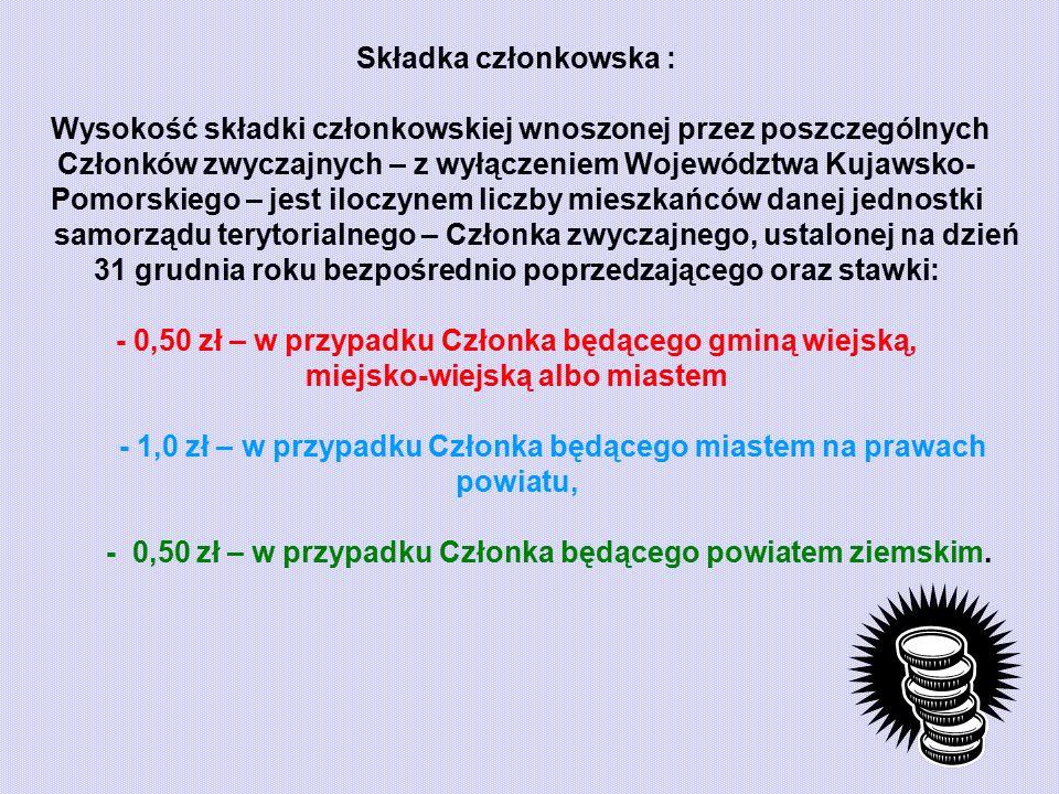 Składka członkowska : Wysokość składki członkowskiej wnoszonej przez poszczególnych Członków zwyczajnych – z wyłączeniem Województwa Kujawsko- Pomorskiego – jest iloczynem liczby mieszkańców danej jednostki samorządu terytorialnego – Członka zwyczajnego, ustalonej na dzień 31 grudnia roku bezpośrednio poprzedzającego oraz stawki: - 0,50 zł – w przypadku Członka będącego gminą wiejską, miejsko-wiejską albo miastem - 1,0 zł – w przypadku Członka będącego miastem na prawach powiatu, - 0,50 zł – w przypadku Członka będącego powiatem ziemskim.