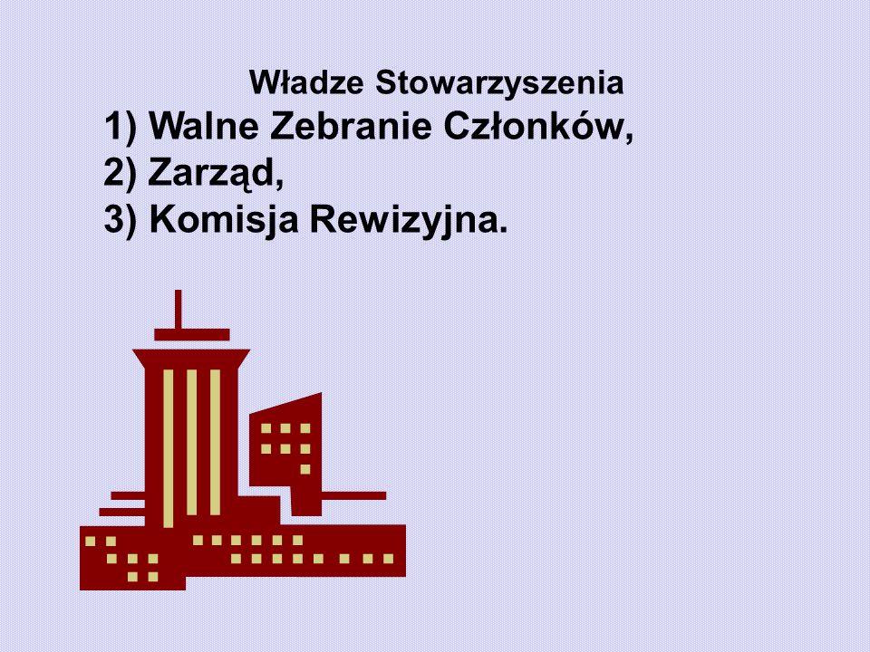 Władze Stowarzyszenia 1) Walne Zebranie Członków, 2) Zarząd, 3) Komisja Rewizyjna.