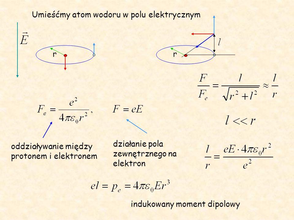 rr oddziaływanie między protonem i elektronem działanie pola zewnętrznego na elektron indukowany moment dipolowy Umieśćmy atom wodoru w polu elektrycz