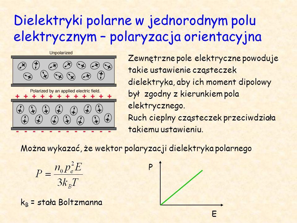 Dielektryki polarne w jednorodnym polu elektrycznym – polaryzacja orientacyjna Zewnętrzne pole elektryczne powoduje takie ustawienie cząsteczek dielektryka, aby ich moment dipolowy był zgodny z kierunkiem pola elektrycznego.