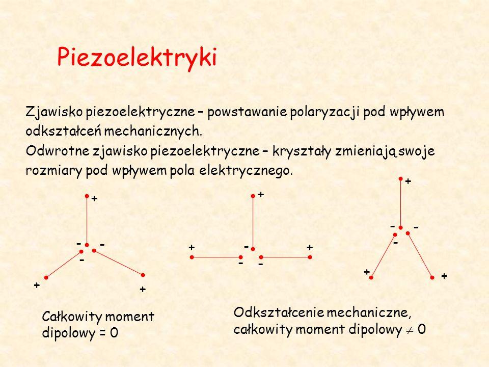 Piezoelektryki Zjawisko piezoelektryczne – powstawanie polaryzacji pod wpływem odkształceń mechanicznych. Odwrotne zjawisko piezoelektryczne – kryszta