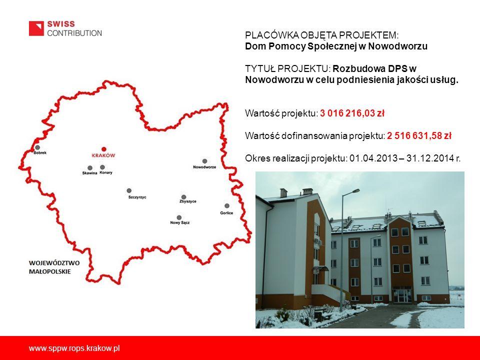 www.sppw.rops.krakow.pl PLACÓWKA OBJĘTA PROJEKTEM: Dom Pomocy Społecznej w Nowodworzu TYTUŁ PROJEKTU: Rozbudowa DPS w Nowodworzu w celu podniesienia jakości usług.