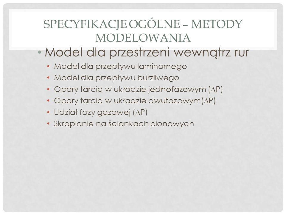 SPECYFIKACJE OGÓLNE – METODY MODELOWANIA Model dla przestrzeni wewnątrz rur Model dla przepływu laminarnego Model dla przepływu burzliwego Opory tarcia w układzie jednofazowym (  P) Opory tarcia w układzie dwufazowym(  P) Udział fazy gazowej (  P) Skraplanie na ściankach pionowych