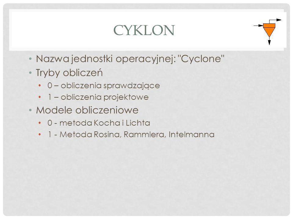 CYKLON Nazwa jednostki operacyjnej: Cyclone Tryby obliczeń 0 – obliczenia sprawdzające 1 – obliczenia projektowe Modele obliczeniowe 0 - metoda Kocha i Lichta 1 - Metoda Rosina, Rammlera, Intelmanna