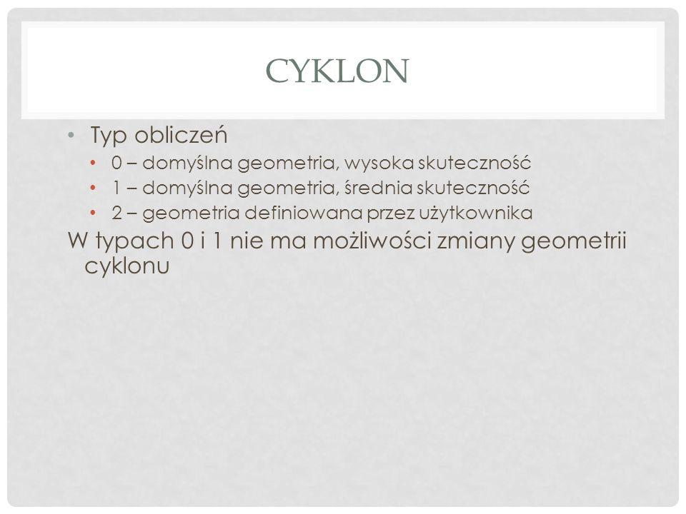 CYKLON Typ obliczeń 0 – domyślna geometria, wysoka skuteczność 1 – domyślna geometria, średnia skuteczność 2 – geometria definiowana przez użytkownika W typach 0 i 1 nie ma możliwości zmiany geometrii cyklonu
