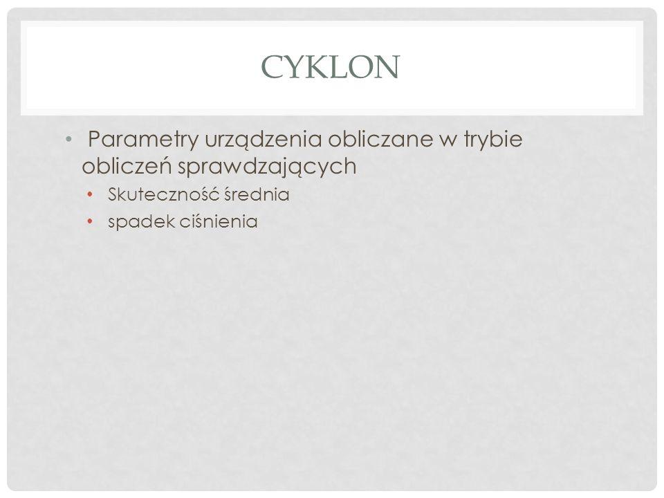 CYKLON Parametry urządzenia obliczane w trybie obliczeń sprawdzających Skuteczność średnia spadek ciśnienia