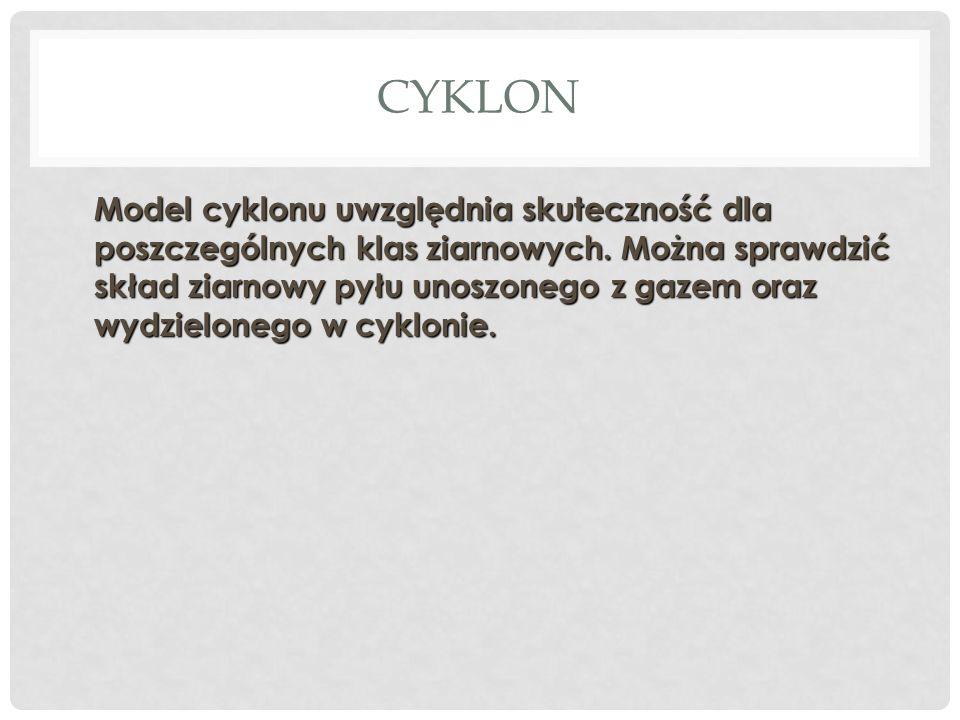 CYKLON Model cyklonu uwzględnia skuteczność dla poszczególnych klas ziarnowych.