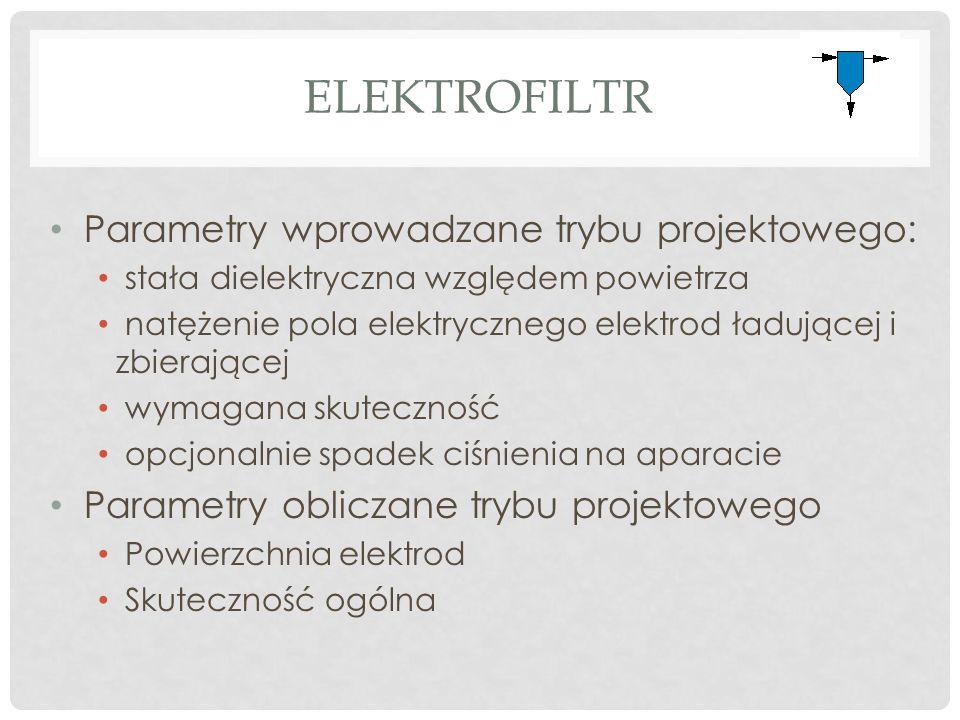 ELEKTROFILTR Parametry wprowadzane trybu projektowego: stała dielektryczna względem powietrza natężenie pola elektrycznego elektrod ładującej i zbierającej wymagana skuteczność opcjonalnie spadek ciśnienia na aparacie Parametry obliczane trybu projektowego Powierzchnia elektrod Skuteczność ogólna