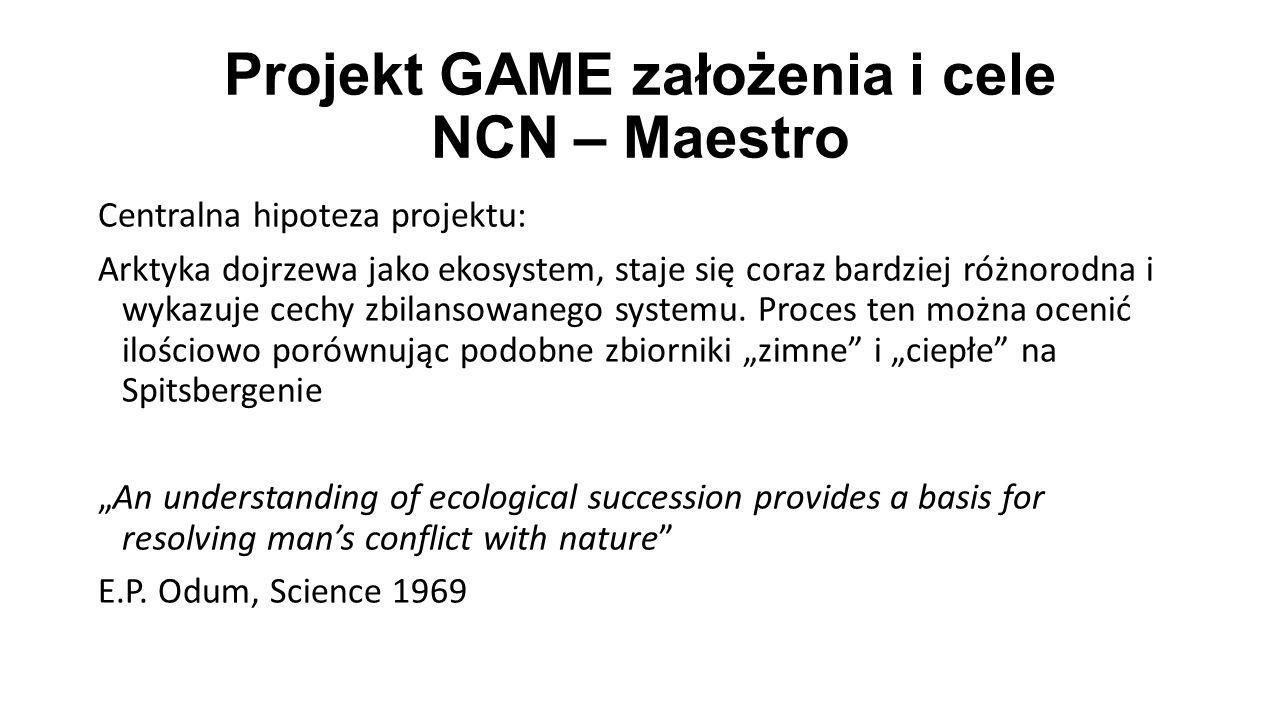 Projekt GAME założenia i cele NCN – Maestro Centralna hipoteza projektu: Arktyka dojrzewa jako ekosystem, staje się coraz bardziej różnorodna i wykazuje cechy zbilansowanego systemu.