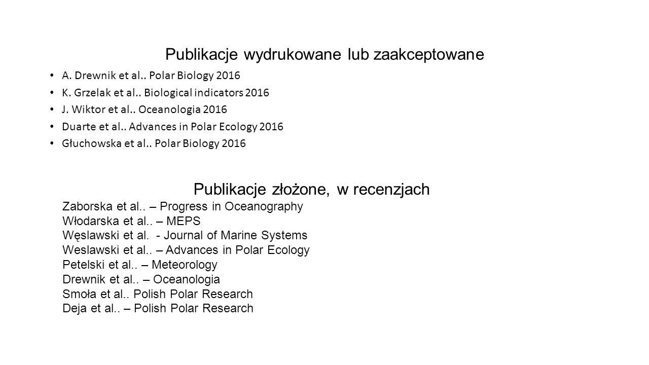 Publikacje wydrukowane lub zaakceptowane A. Drewnik et al..