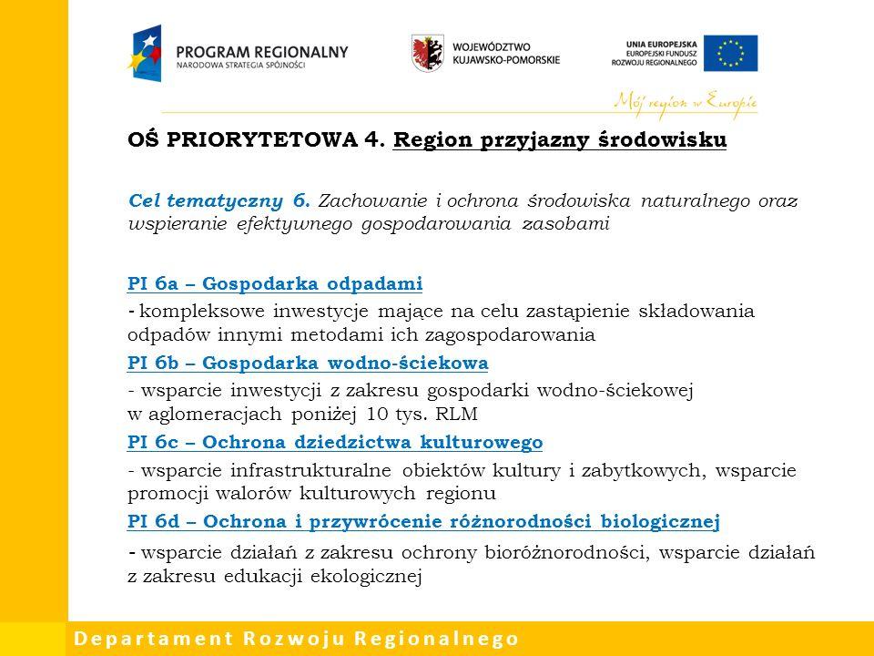 Departament Rozwoju Regionalnego OŚ PRIORYTETOWA 4.