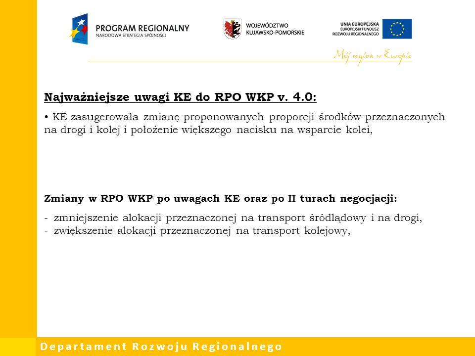 Departament Rozwoju Regionalnego Najważniejsze uwagi KE do RPO WKP v.