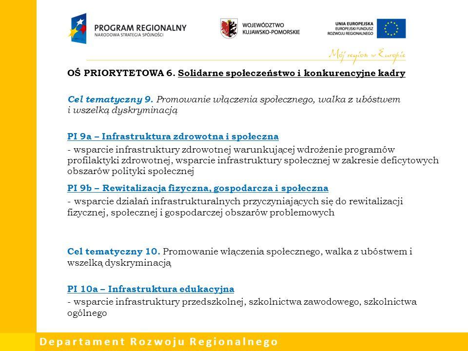 Departament Rozwoju Regionalnego OŚ PRIORYTETOWA 6.