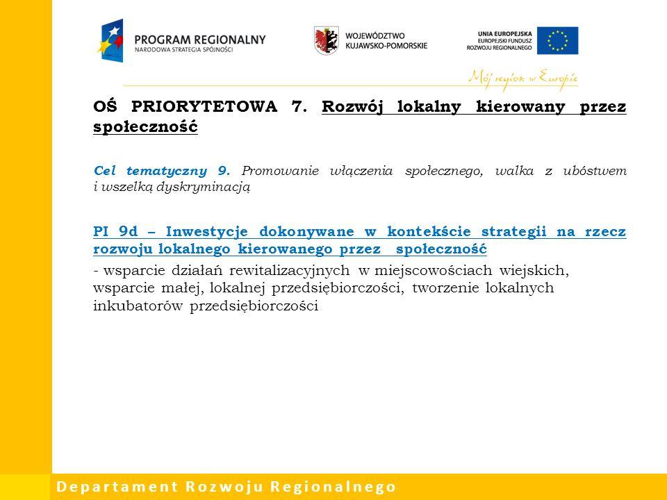 Departament Rozwoju Regionalnego OŚ PRIORYTETOWA 7.