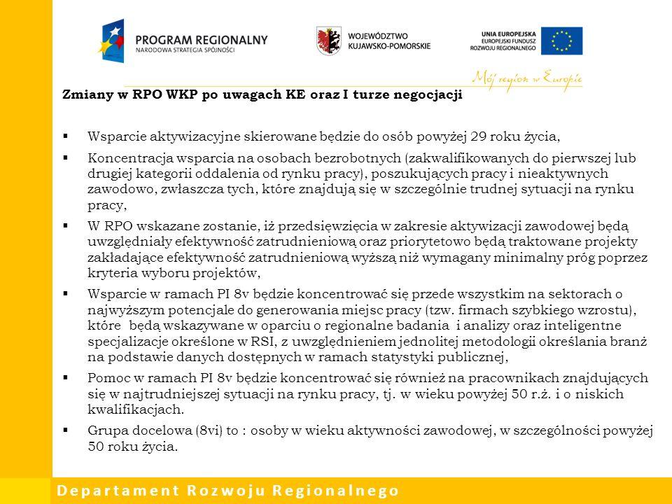 Departament Rozwoju Regionalnego Zmiany w RPO WKP po uwagach KE oraz I turze negocjacji  Wsparcie aktywizacyjne skierowane będzie do osób powyżej 29 roku życia,  Koncentracja wsparcia na osobach bezrobotnych (zakwalifikowanych do pierwszej lub drugiej kategorii oddalenia od rynku pracy), poszukujących pracy i nieaktywnych zawodowo, zwłaszcza tych, które znajdują się w szczególnie trudnej sytuacji na rynku pracy,  W RPO wskazane zostanie, iż przedsięwzięcia w zakresie aktywizacji zawodowej będą uwzględniały efektywność zatrudnieniową oraz priorytetowo będą traktowane projekty zakładające efektywność zatrudnieniową wyższą niż wymagany minimalny próg poprzez kryteria wyboru projektów,  Wsparcie w ramach PI 8v będzie koncentrować się przede wszystkim na sektorach o najwyższym potencjale do generowania miejsc pracy (tzw.