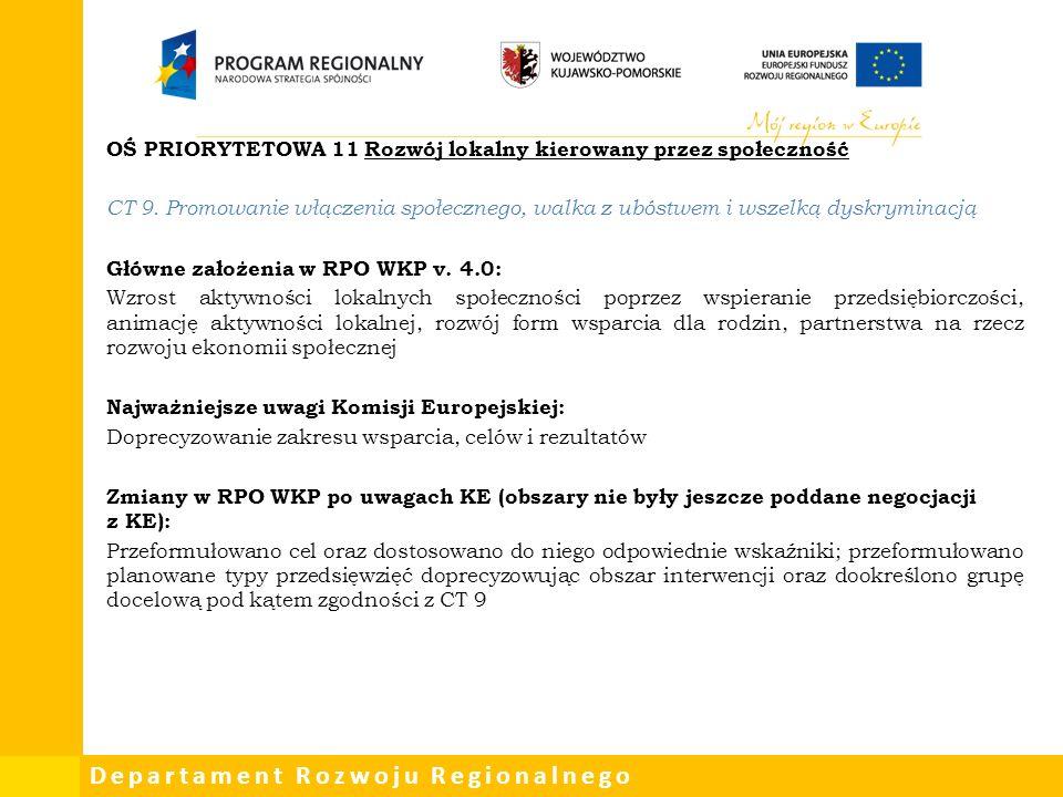 Departament Rozwoju Regionalnego OŚ PRIORYTETOWA 11 Rozwój lokalny kierowany przez społeczność CT 9.