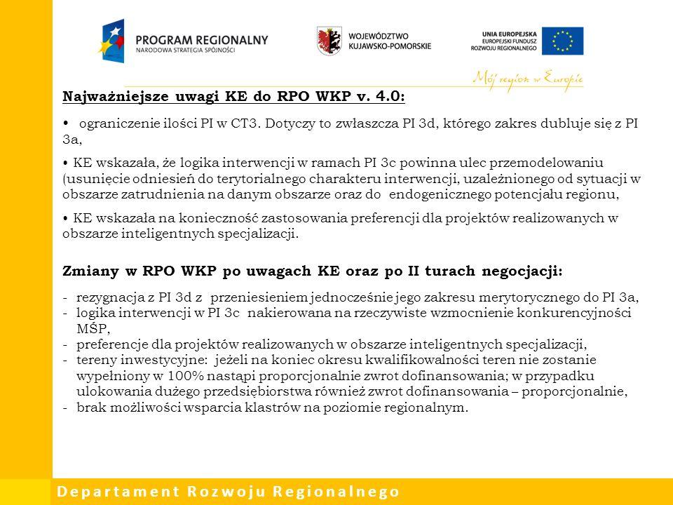 Departament Rozwoju Regionalnego Najważniejsze uwagi Komisji Europejskiej:  Wskazanie jasnej demarkacji między CT8 a CT9 oraz doprecyzowanie w zakresie opisu grupy docelowej  Zbyt ogólny i za szeroki zakres wsparcia w szczególności w zakresie usług zdrowotnych  Wsparcie usług zdrowotnych wymaga dostosowania do zapisów Policy Paper  Programy zdrowotne powinny być opracowywane na poziomie krajowym lub ze środków własnych województwa
