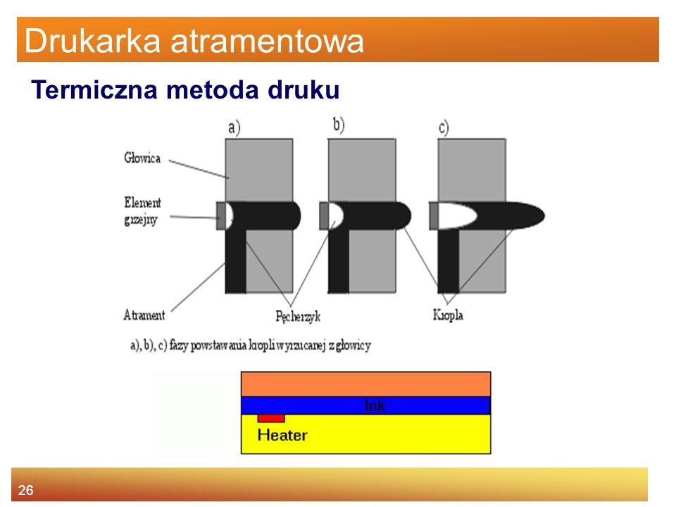 26 Drukarka atramentowa Termiczna metoda druku